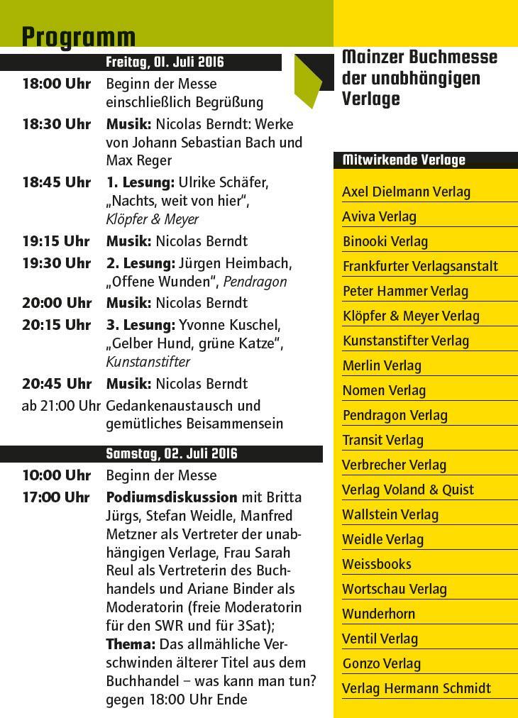 Programm der Mainzer Buchmesse